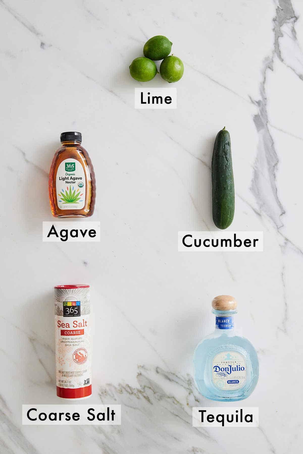 Ingredients needed to make a cucumber margarita.