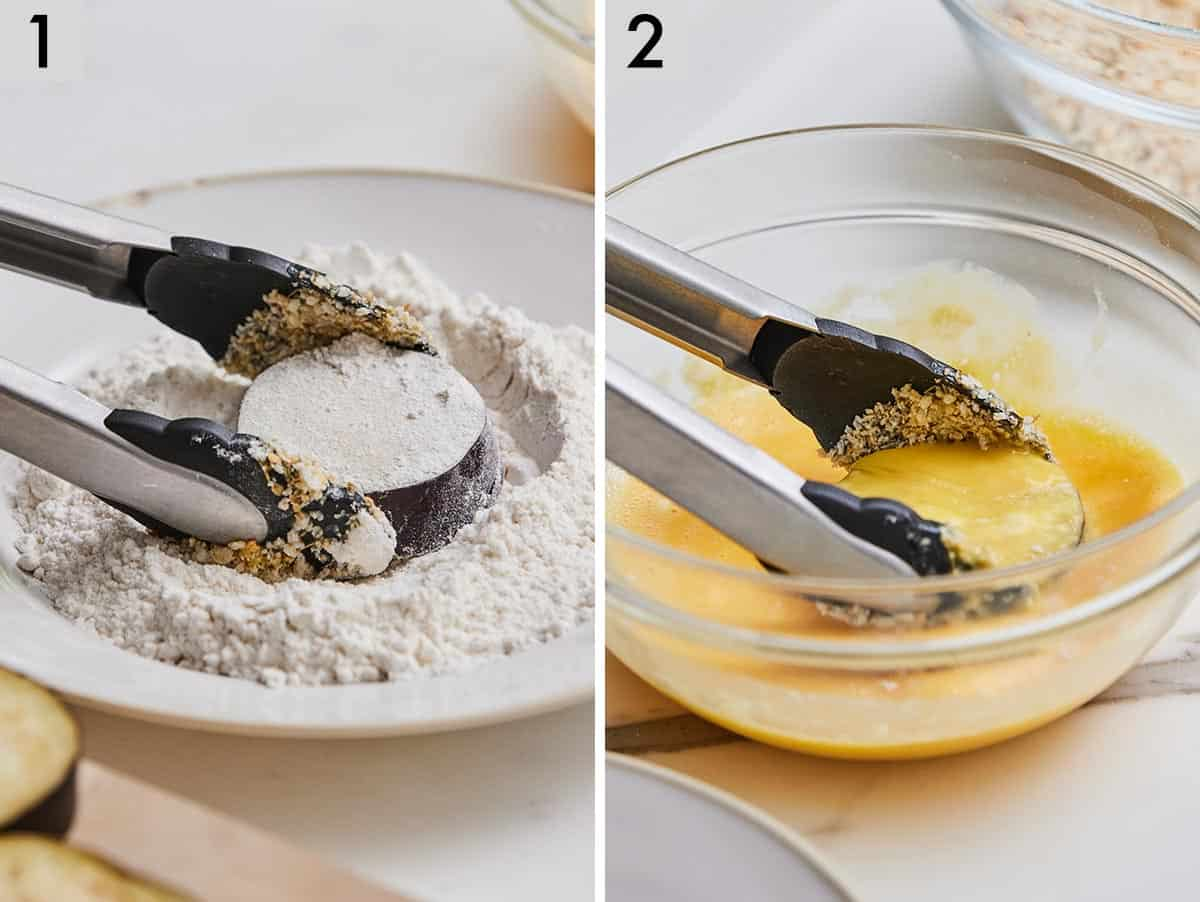 Set of two photos showing a slice of eggplant coated in flour then beaten egg.