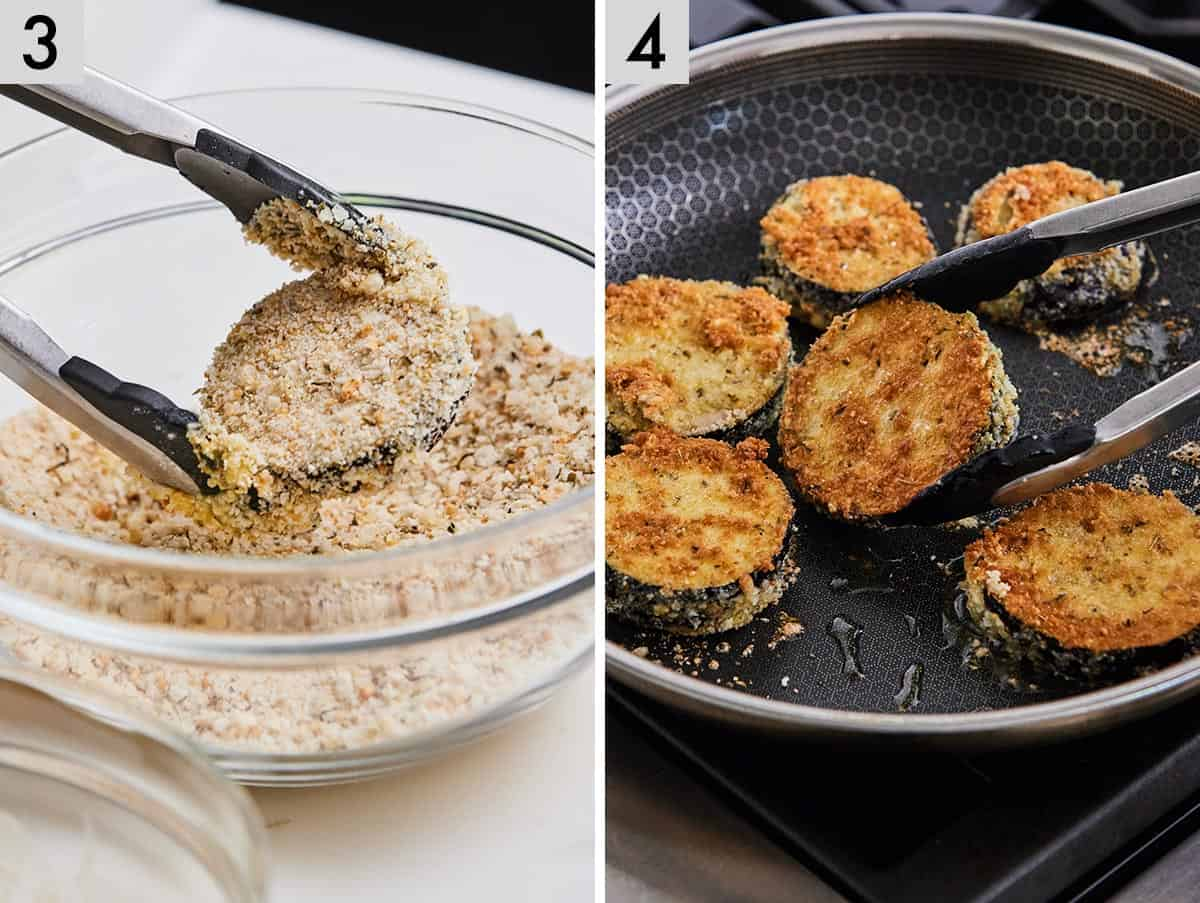Set of two photos showing a slice of eggplant coated in breadcrumbs and then pan fried until crispy.