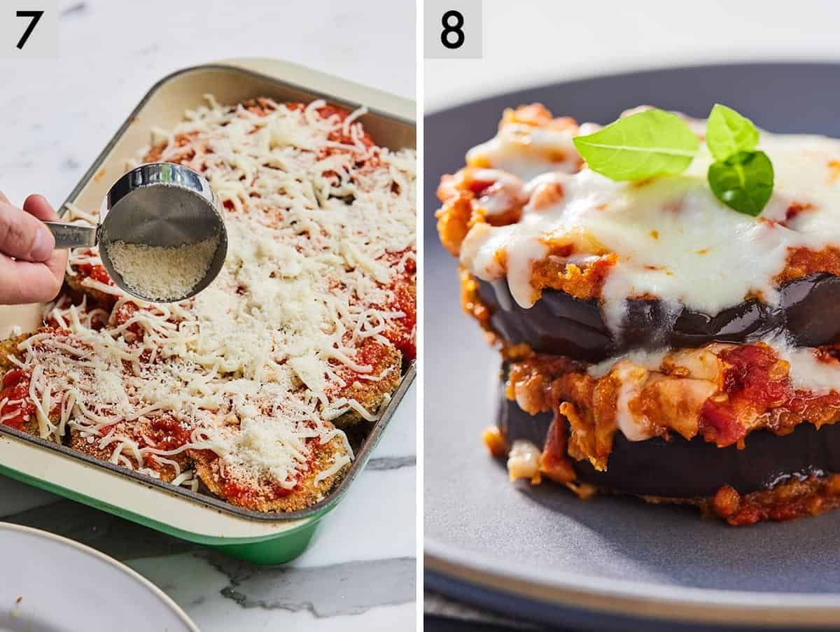 Set of two photos showing cheese being added to a casserole dish and then a serving of eggplant parmesan on a plate.