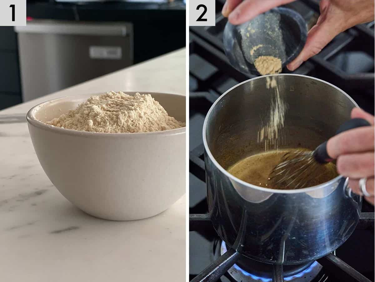 Set of two photos showing ingredients being measured and a roux being made with flour and oil.