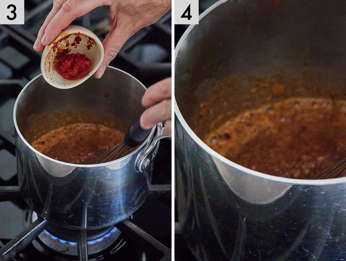 Set of two photos showing tomato paste being added to the sauce and whisking it together.