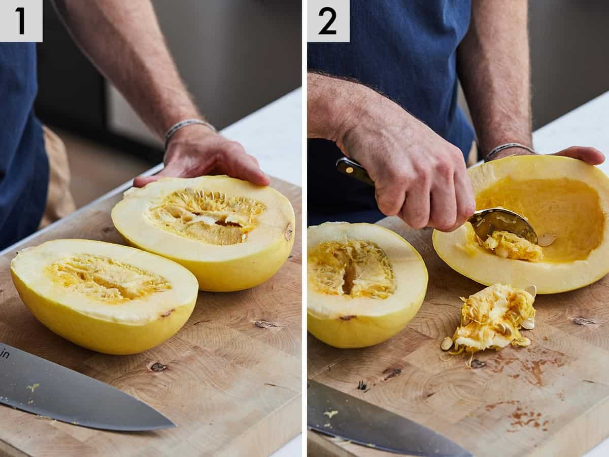 Set of two photos showing a spaghetti squash cut in half and the insides scooped out with a spoon.