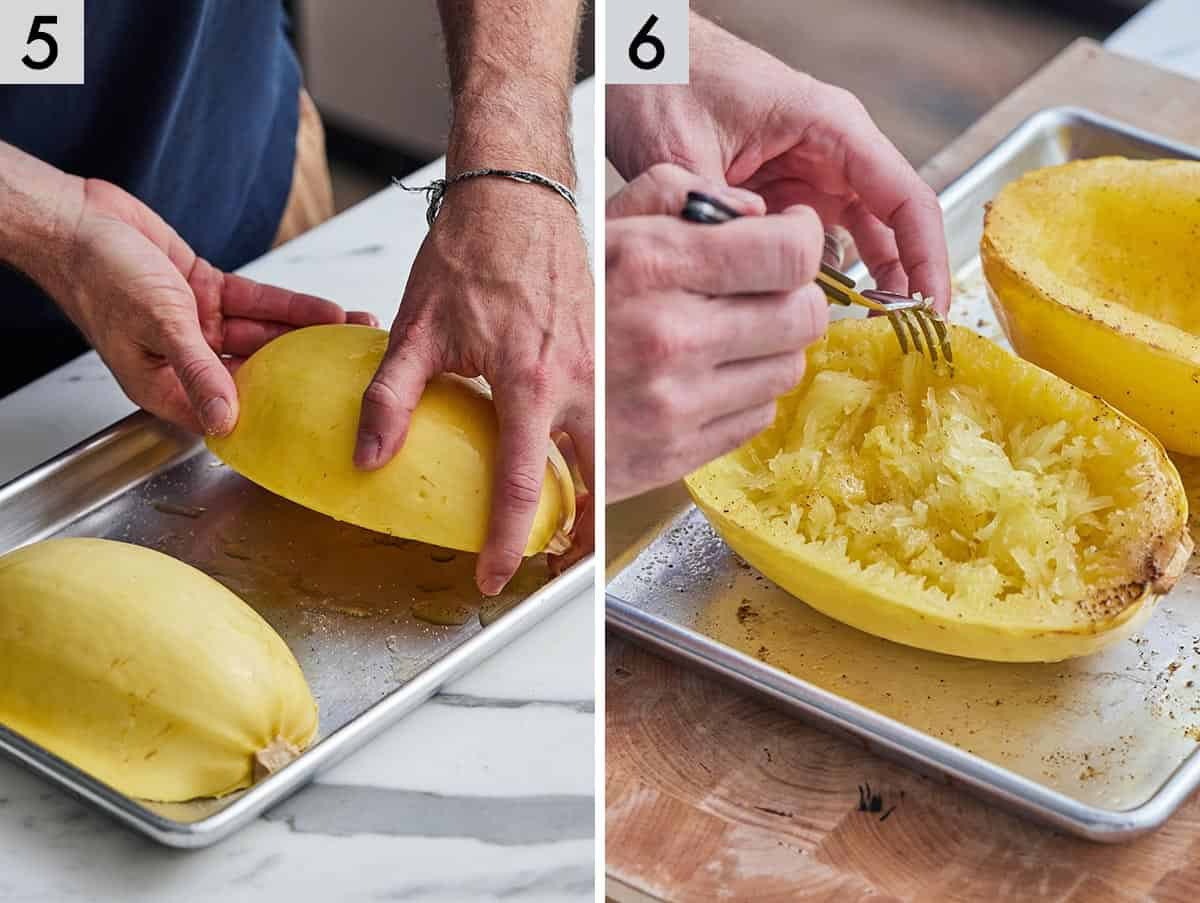 Set of two photos showing the cut side being placed down onto a sheet pan and then pulling out the noodle strands with a fork.