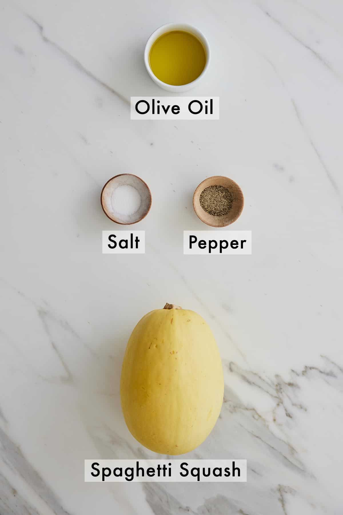 Ingredients needed to make spaghetti squash.