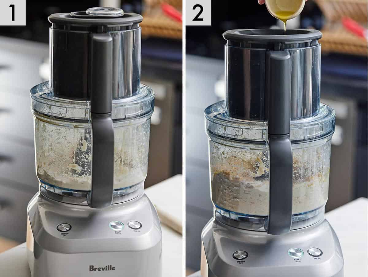 Set of two photos showing hummus blending in a food processor and oil added to it.