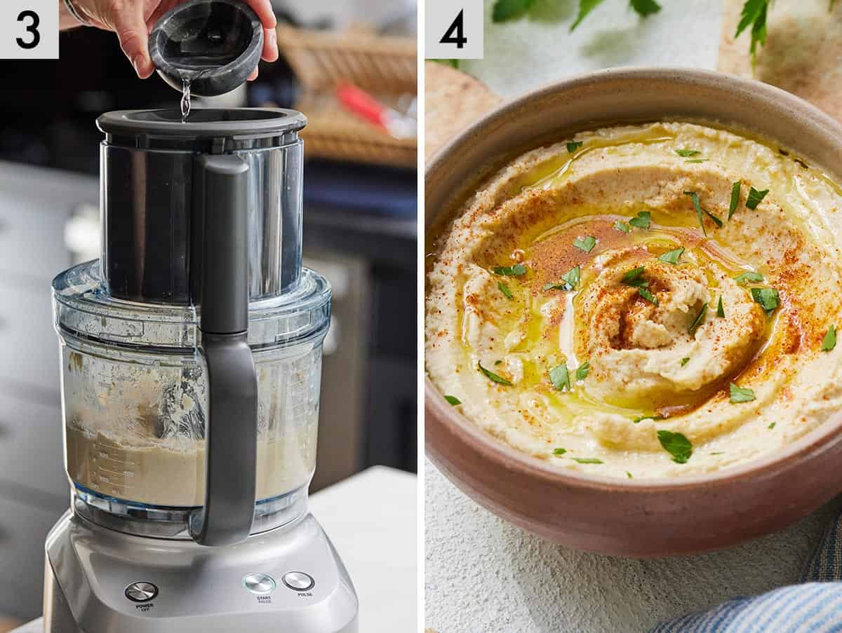 Set of 2 photos showing water added to the food processor and plated hummus.
