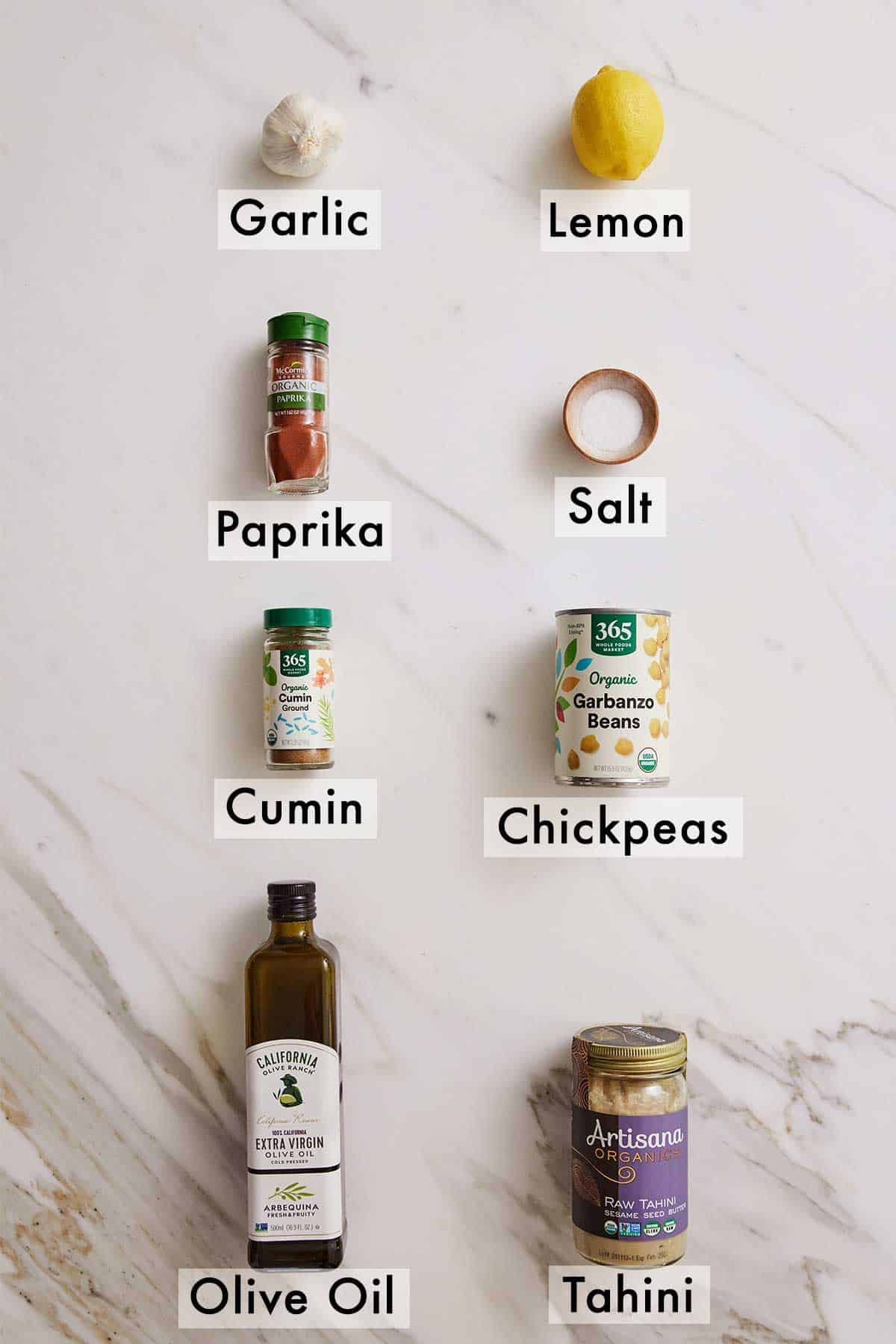 Ingredients needed to make hummus.