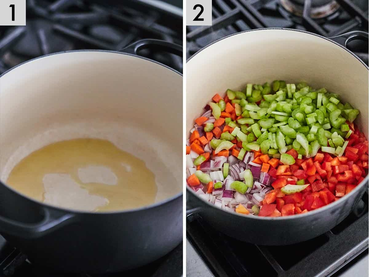 Two photos showing oil being added to a Dutch oven and vegetables being added in overtop.