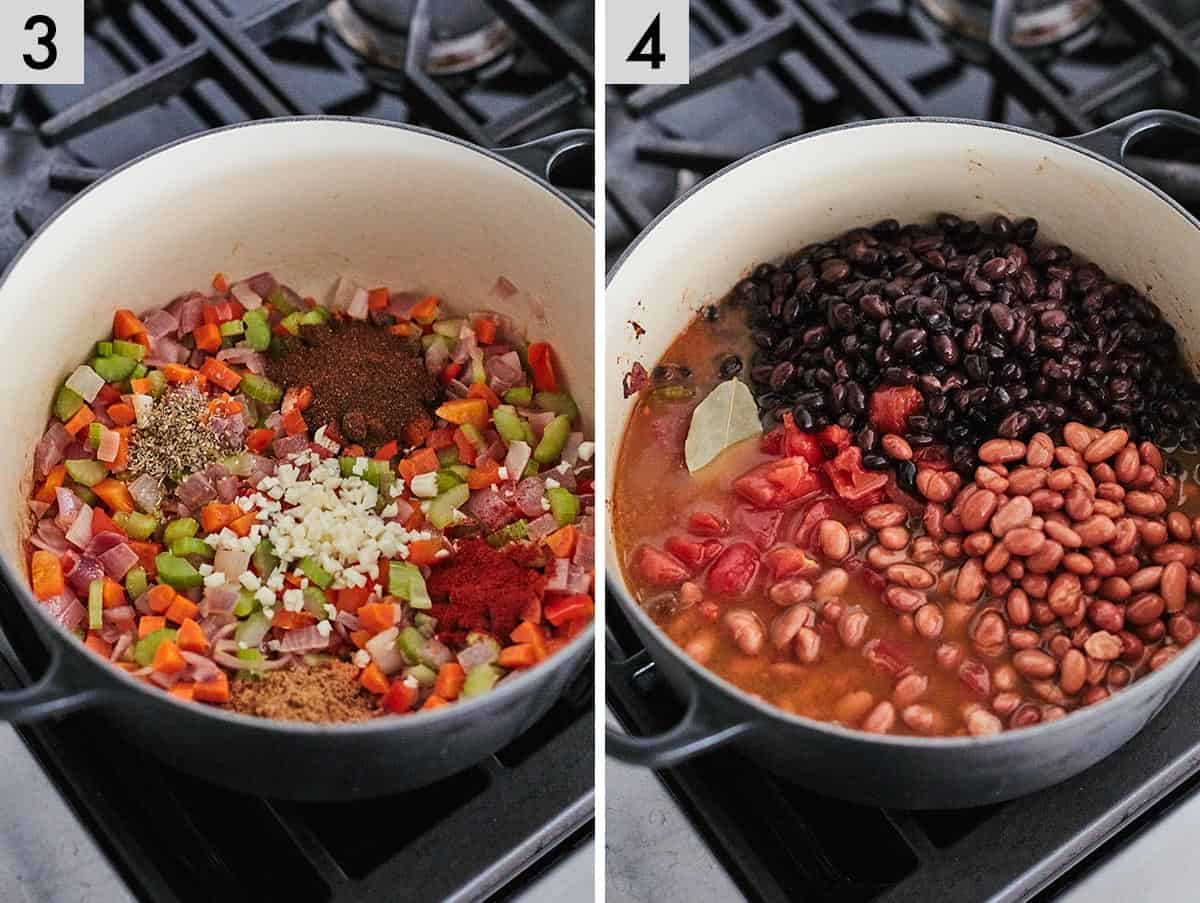 Set of two images showing garlic and seasonings being added into a dutch oven and then beans and tomatoes added.