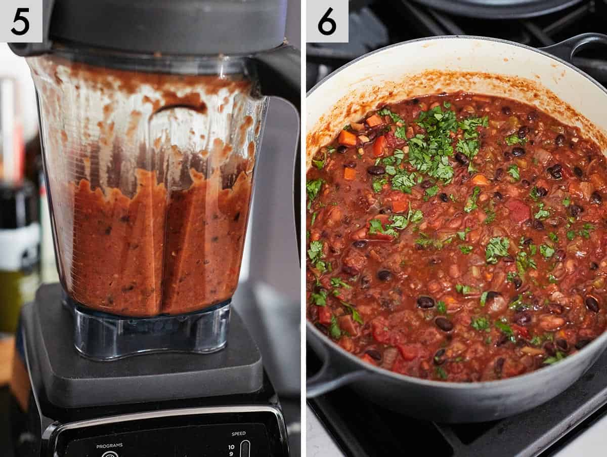 Set of two images showing chili being added to a blender and then the final completed vegetarian chili inside of a Dutch oven.