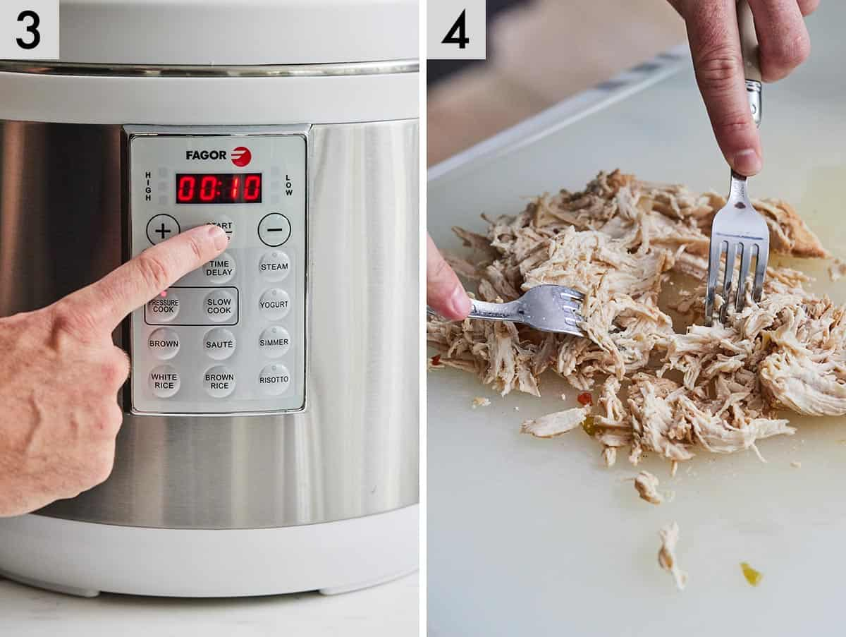 Set of two photos showing the timer being set on the pressure cooker and then shredded chicken breasts.