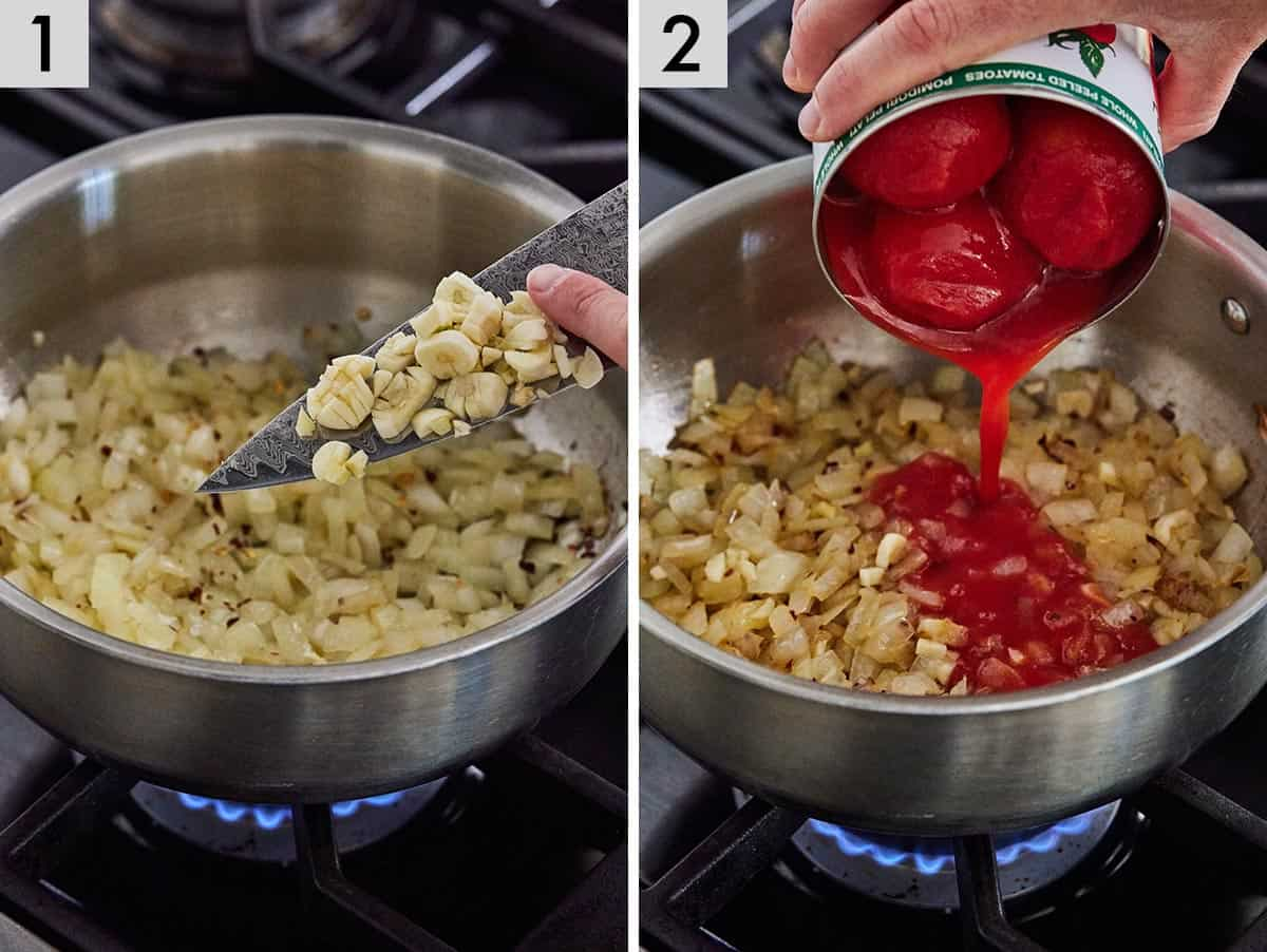 Set of two photos showing onions sautéed with garlic added to it and then canned peeled tomatoes poured in.