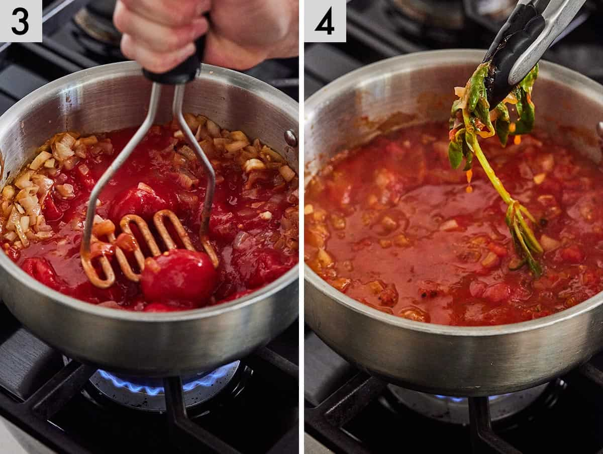 Set of two photos showing tomatoes being crushed with a masher and then sprig of basil being removed from the simmered sauce.
