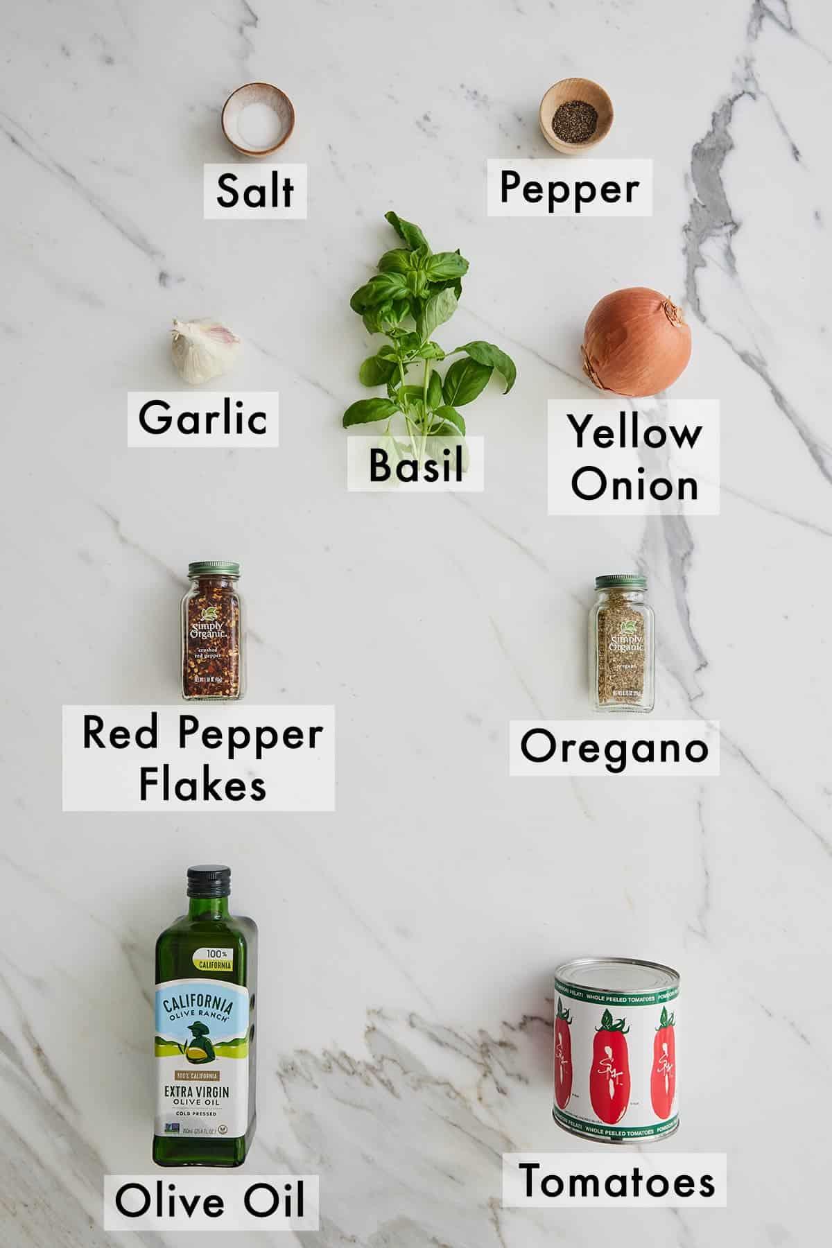 Ingredients needed for marinara sauce.
