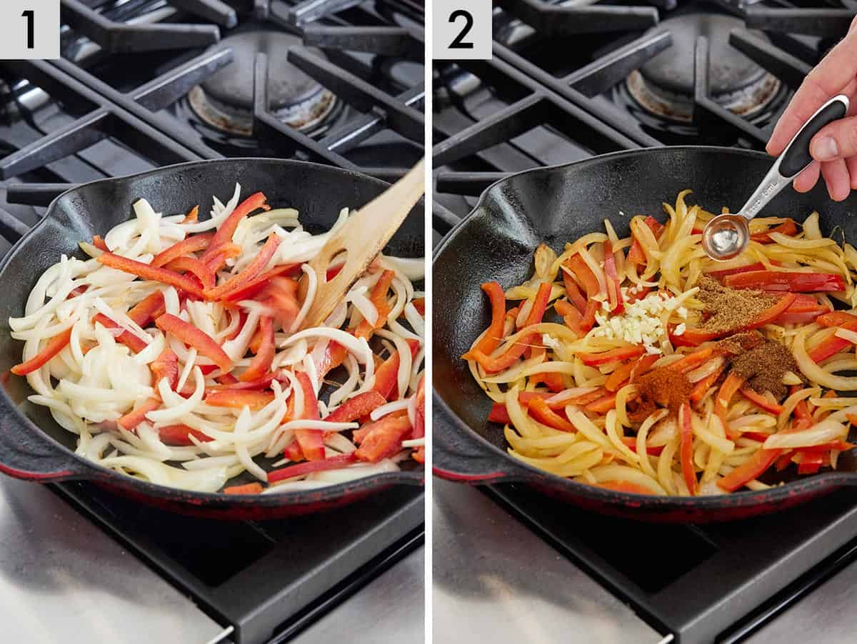 Set of two photos showing the onions and bell peppers being cooked in a cast iron and then seasoned with spices.