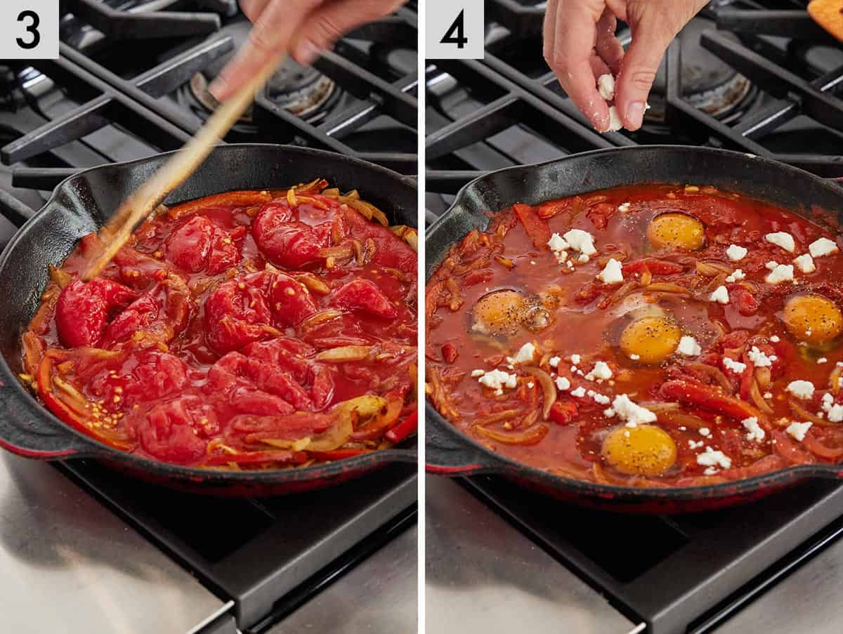 Set of two photos showing canned tomatoes added to the pan and then eggs and cheese.