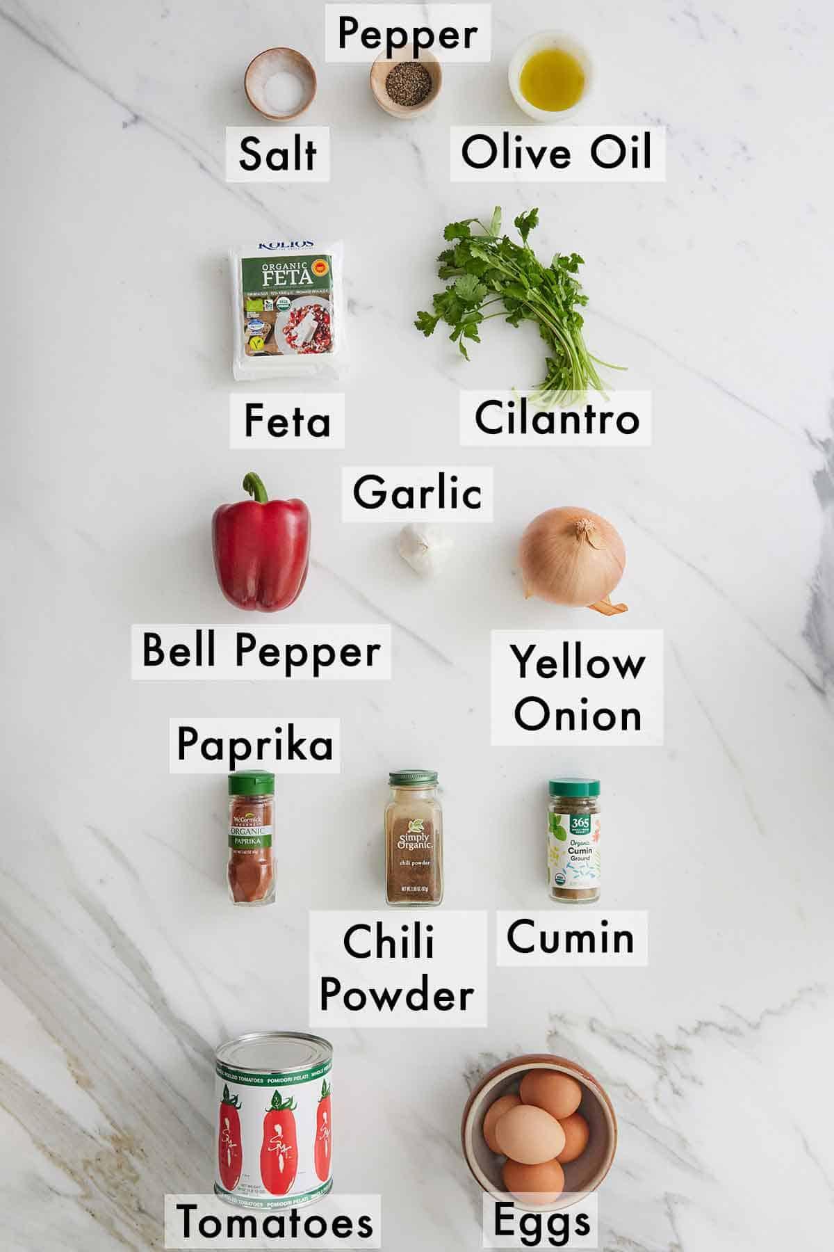 Ingredients needed to make shakshuka.