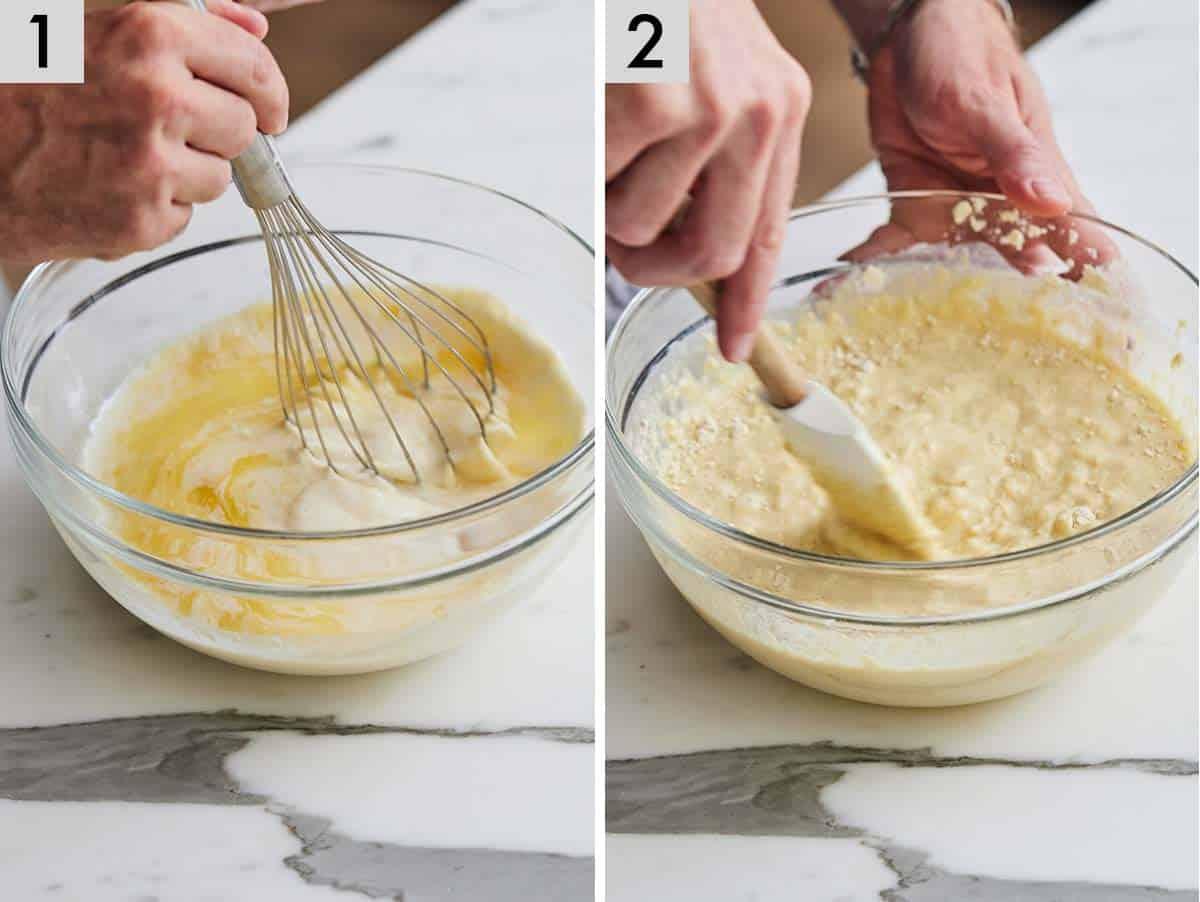Set of two photos showing pancake batter being mixed.
