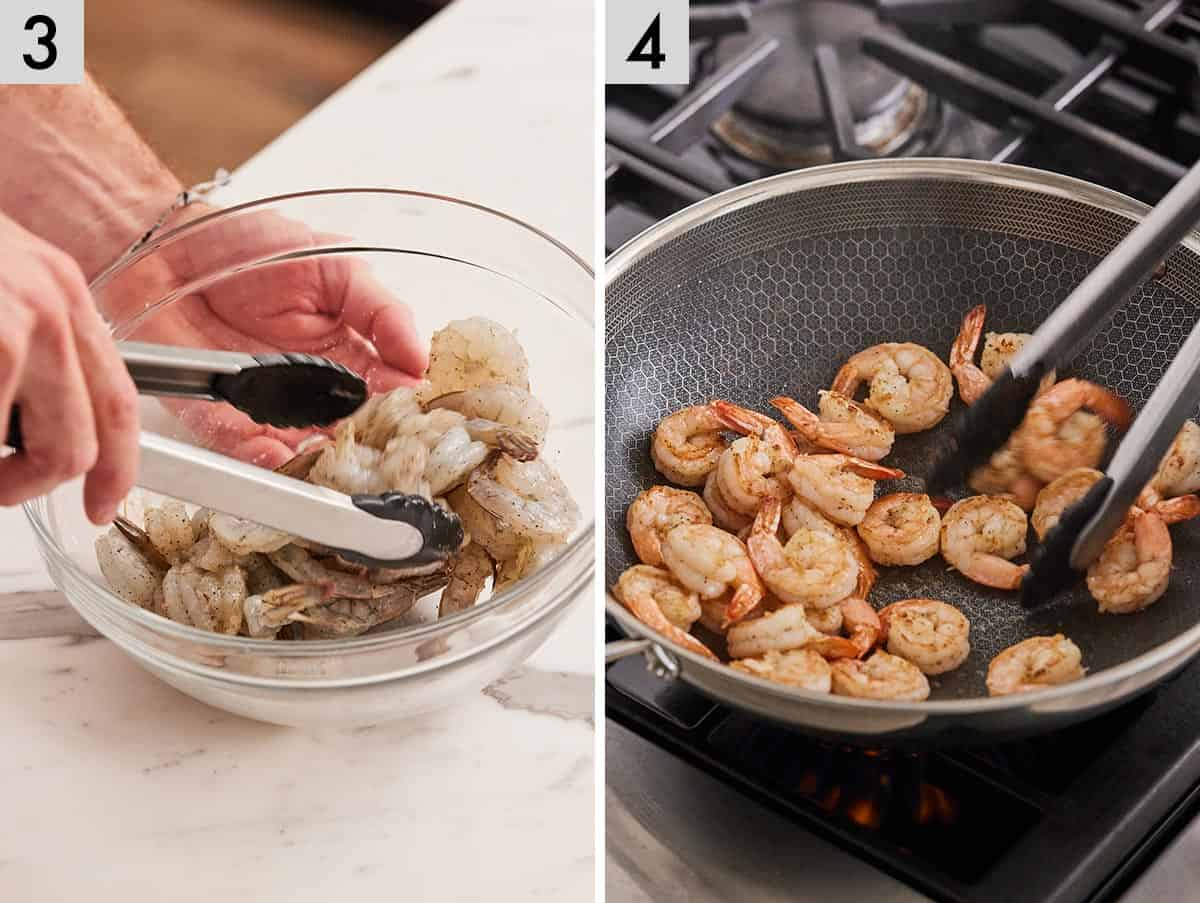Set of 2 photos showing shrimp being seasoned and then cooked in a pan.