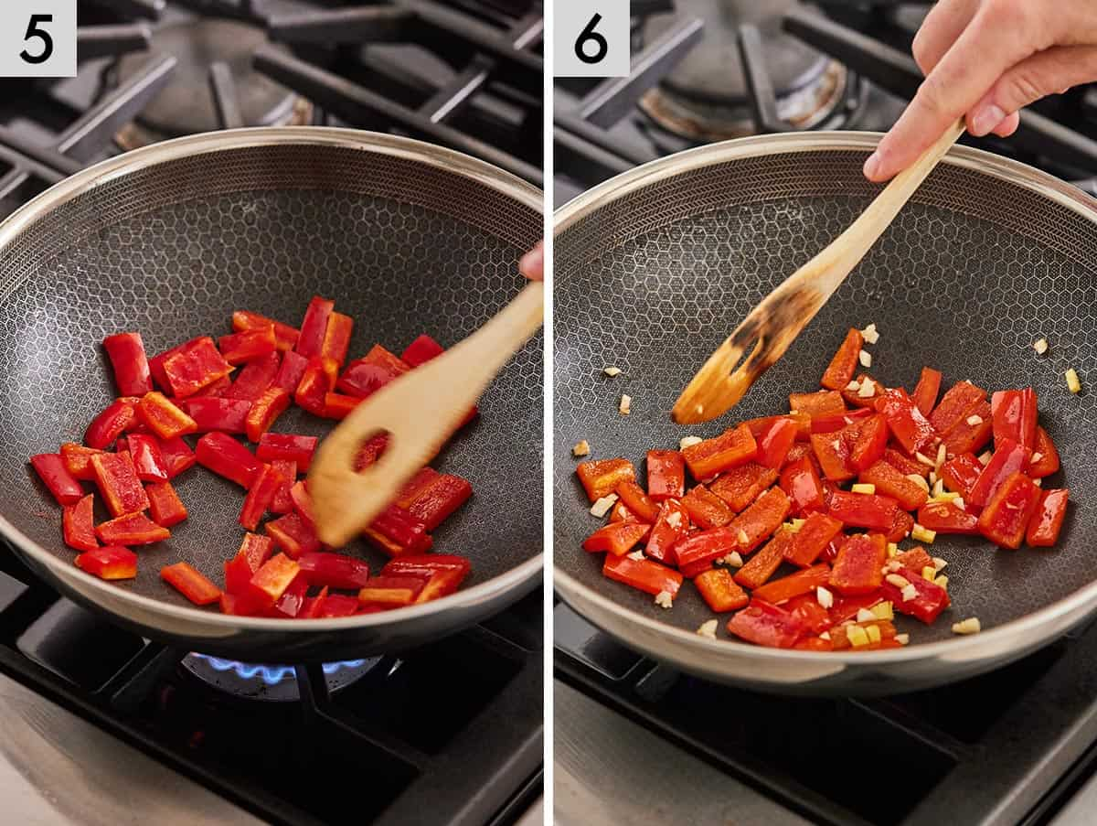 Set of 2 photos showing bell peppers being sautéed with garlic and ginger.