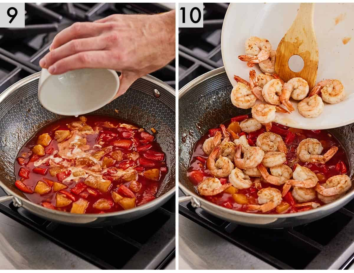 Set of 2 photos showing cornstarch mixture added to the pan and then the prepared shrimp.