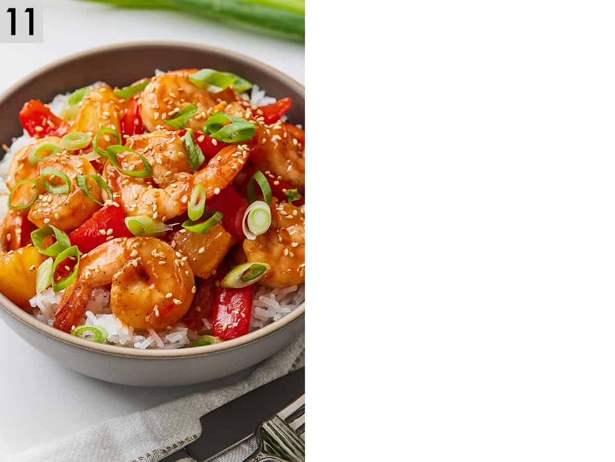A bowl of cooked sweet and sour shrimp.
