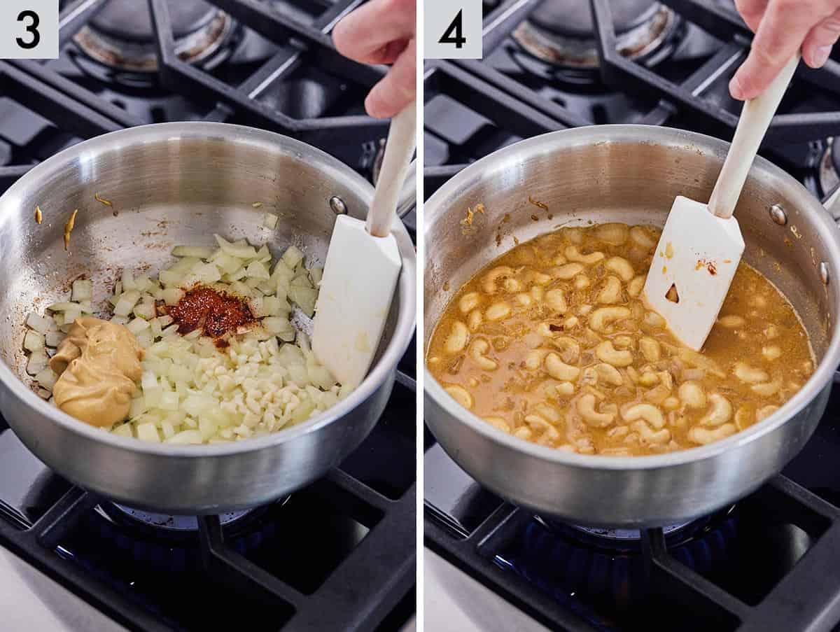 Set of 2 photos showing seasoning, garlic, and dijon mustard added to the pan and stirring.