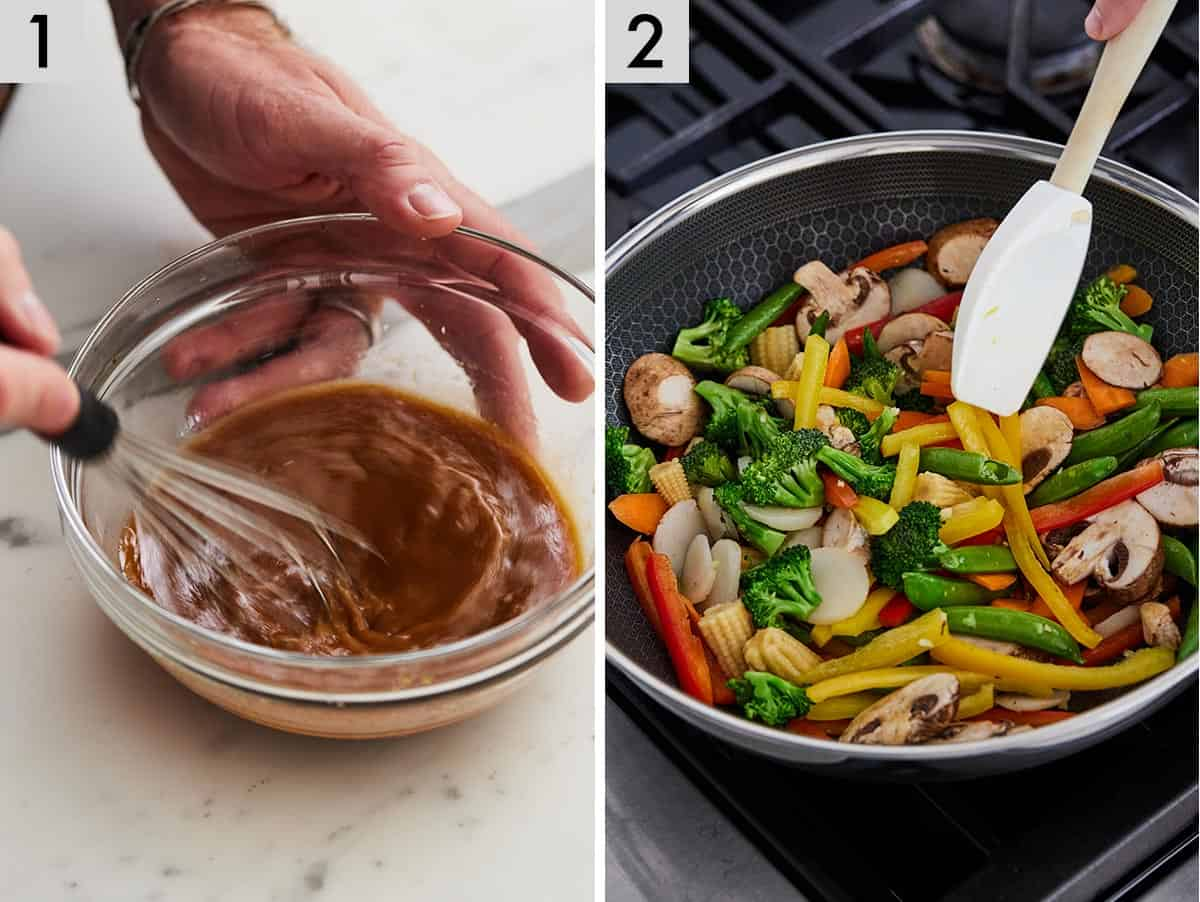 Set of 2 photos showing sauce being whisked and vegetables being stir fried.