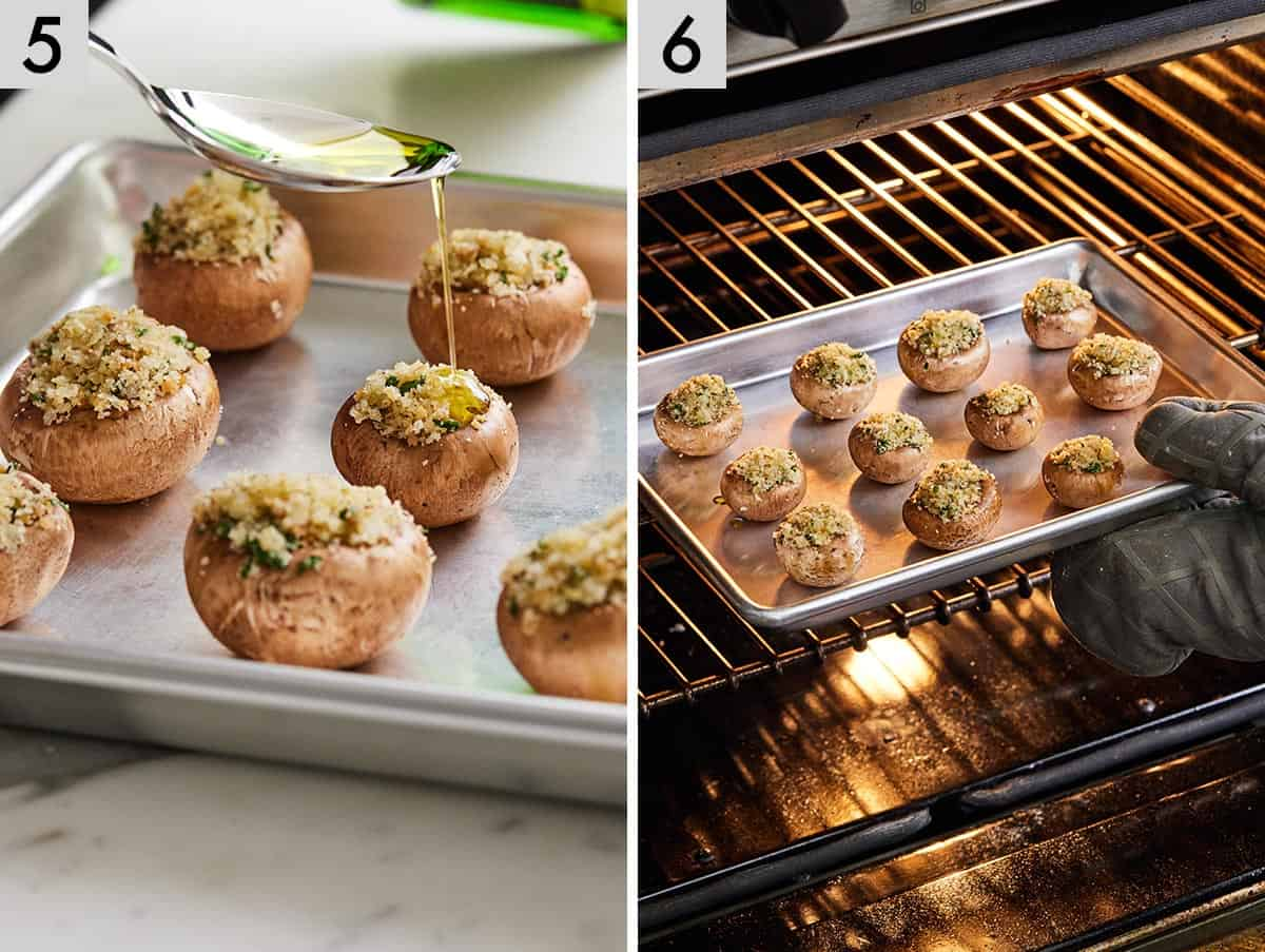 A set of two photos showing olive oil being drizzled on top of mushrooms and then baked in the oven.