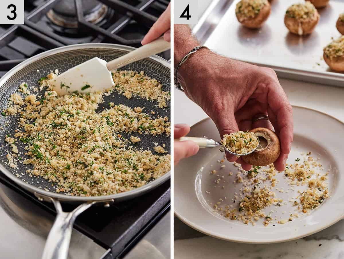 Set of two photos showing breadcrumbs being toasted with seasoning and herbs and then stuffing being packed into the mushroom caps.