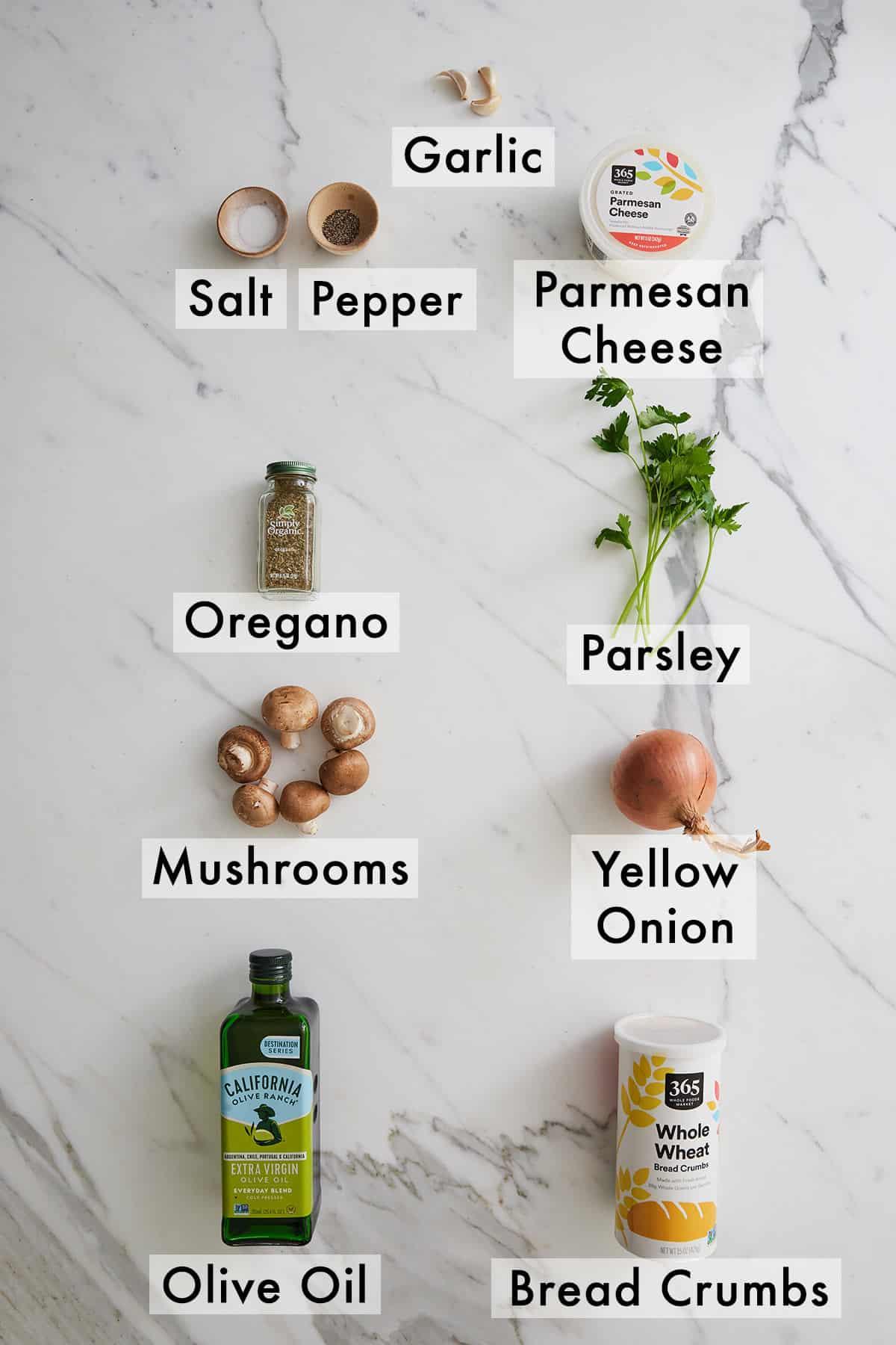 Ingredients needed to make vegetarian stuffed mushrooms.