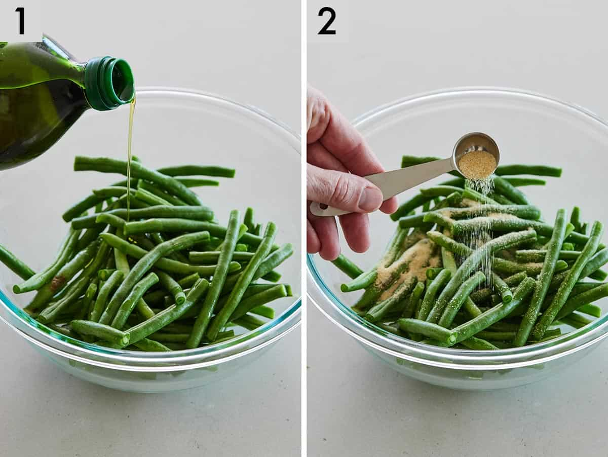 Set of two photos showing olive oil added to green beans in a bowl and then garlic powder added.