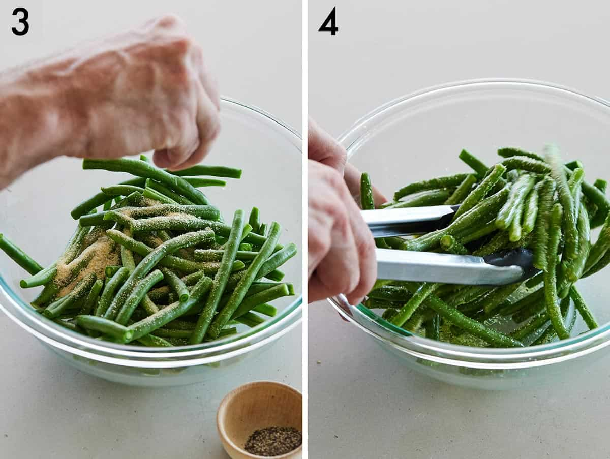 Set of two photos showing salt and pepper added to the green beans and then tossed.