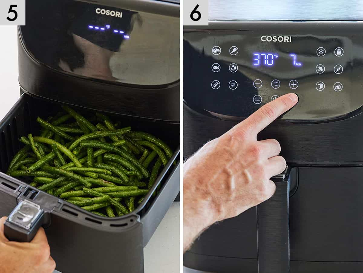 Set of two photos showing green beans added to an air fryer and then setting the air fryer to cook.
