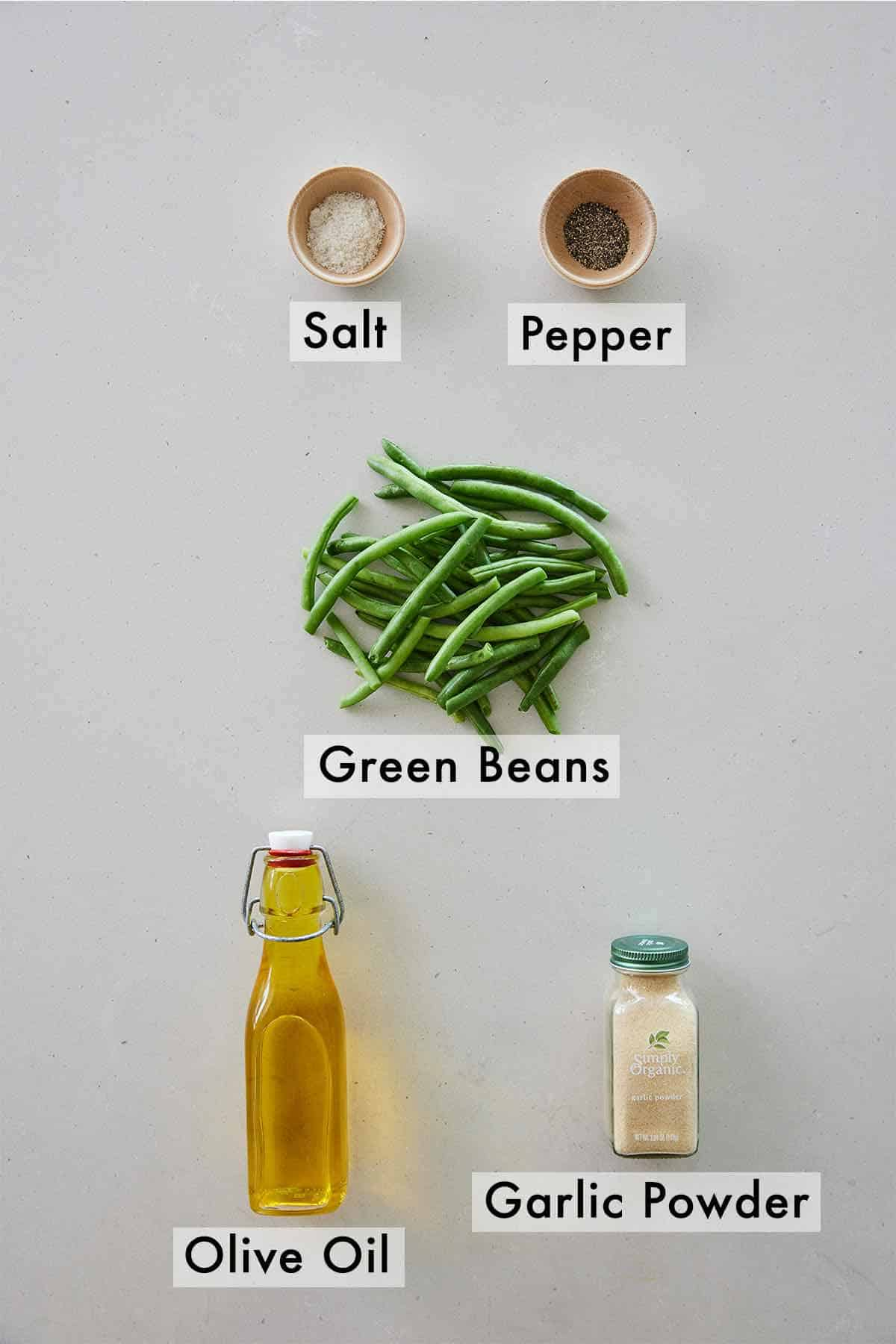 Ingredients needed to make air fryer green beans.