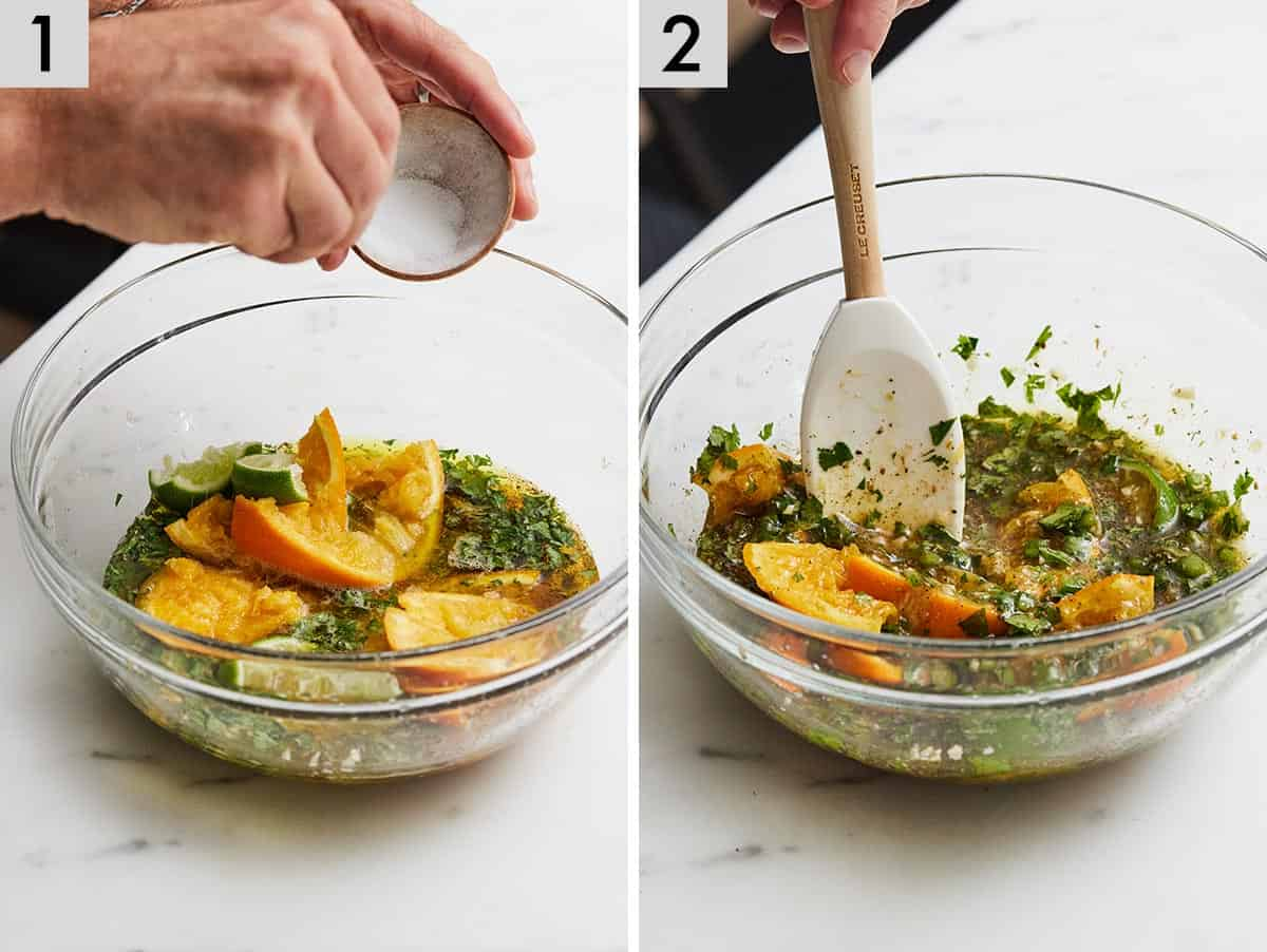 Set of two photos showing marinade ingredients being placed in a bowl and then mixed together.