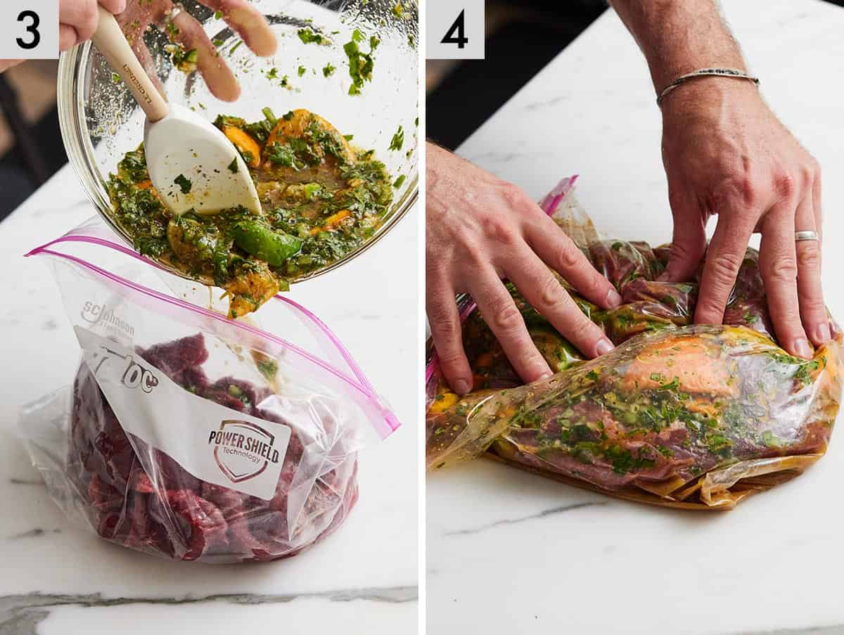 Set of two photos showing marinade added to a bag with the meat and then mixed to coat.