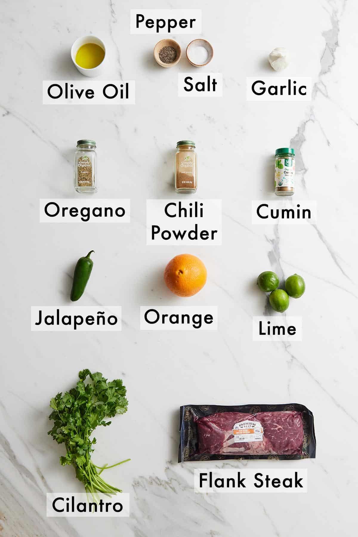 Ingredients needed to make carne asada.