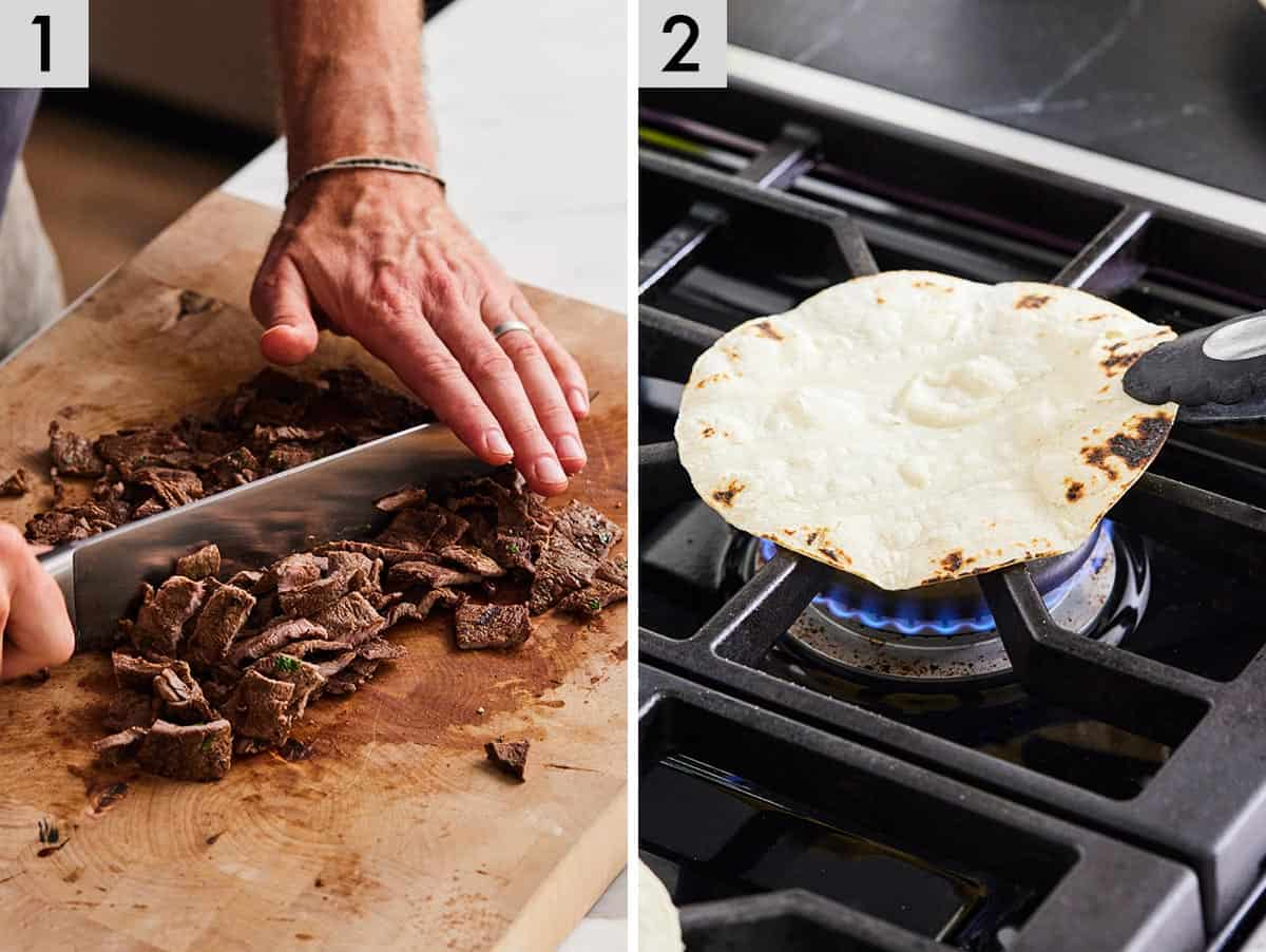 Set of two photos showing carne asada being chopped and a corn tortilla being warmed on a stovetop.