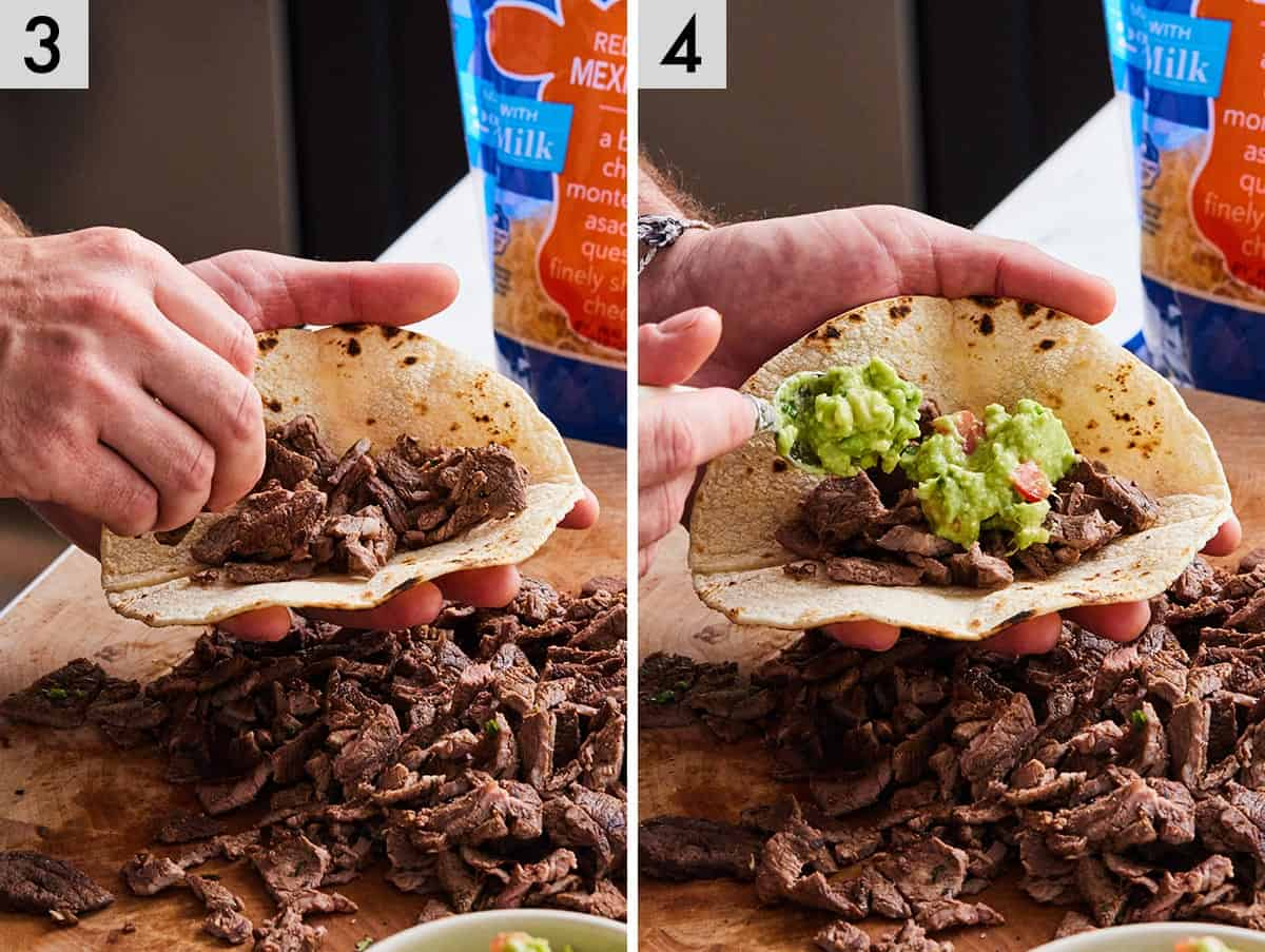 Set of two photos showing carne asada added to a corn tortilla and topped with guacamole.