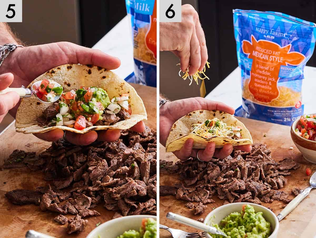 Set of two photos showing pico de gallo added to a taco and then cheese sprinkled on top.