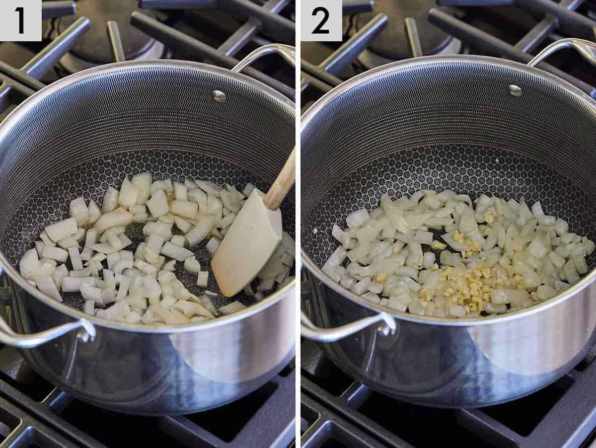 Set of two showing onions being sautéed and garlic added.