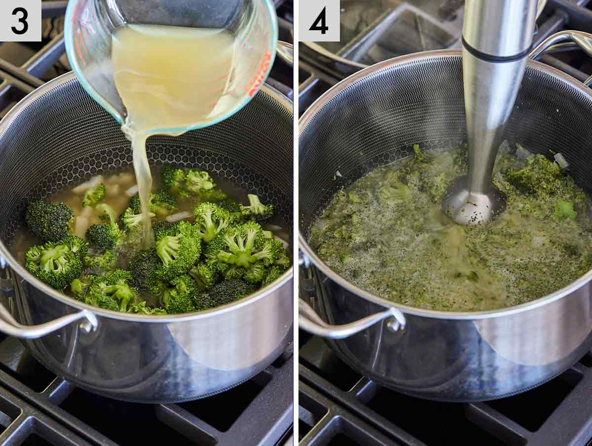 Set of two photos showing broth added to a pot and then blended with an immersion blender.