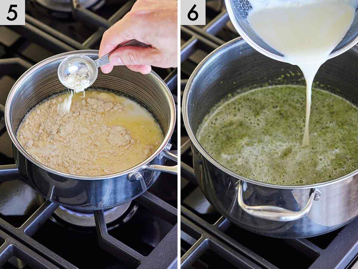 Set of two photos showing butter and flour to the pot and then milk.