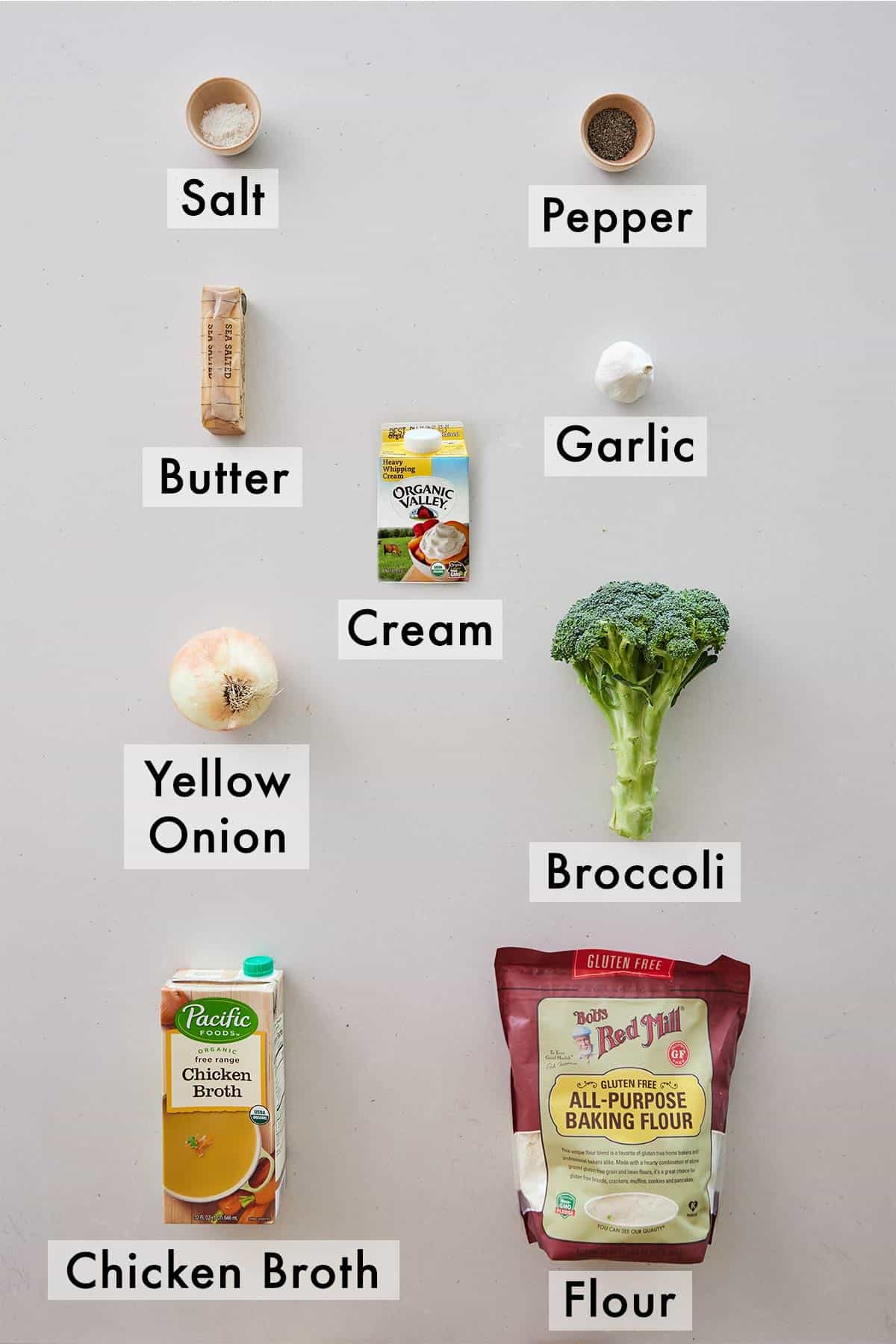 Ingredients needed to make cream of broccoli soup.