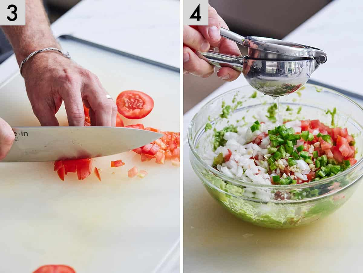 Set of two photos showing a tomato being diced and lime being juiced into a bowl with mashed avocado, diced onions, tomatoes, and jalapeno.
