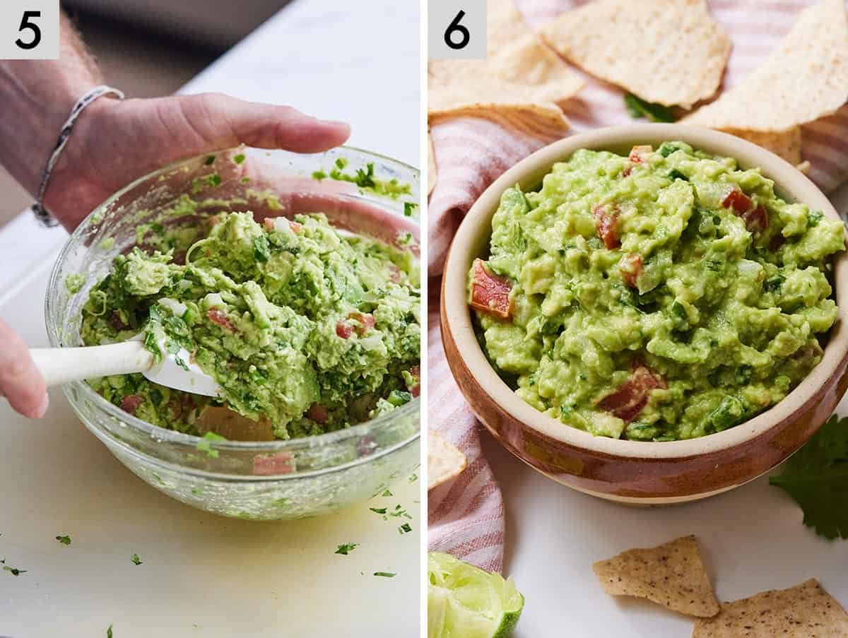 Set of two photos showing ingredients being mixed together to form a bowl of guacamole.