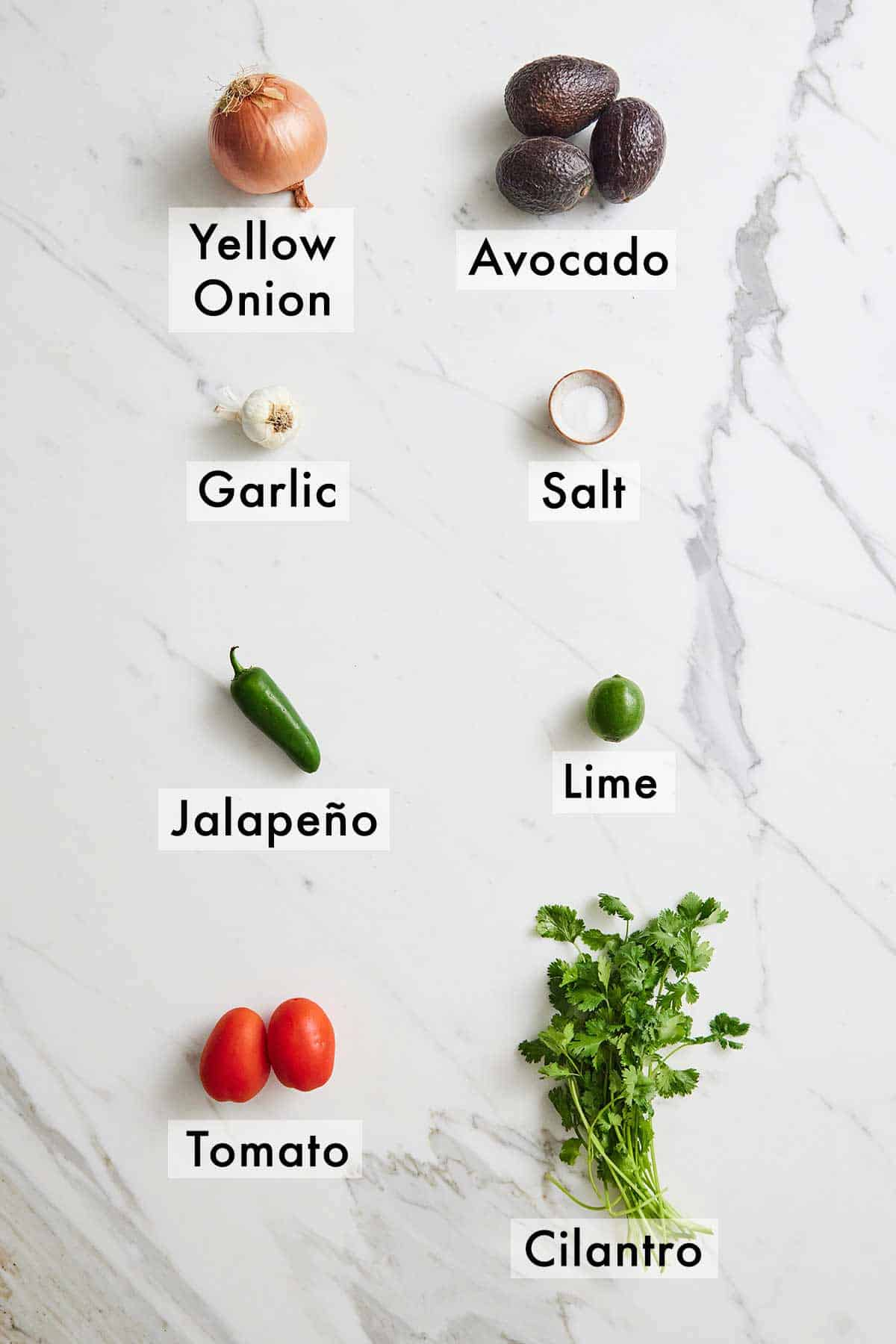 Ingredients needed to make guacamole.