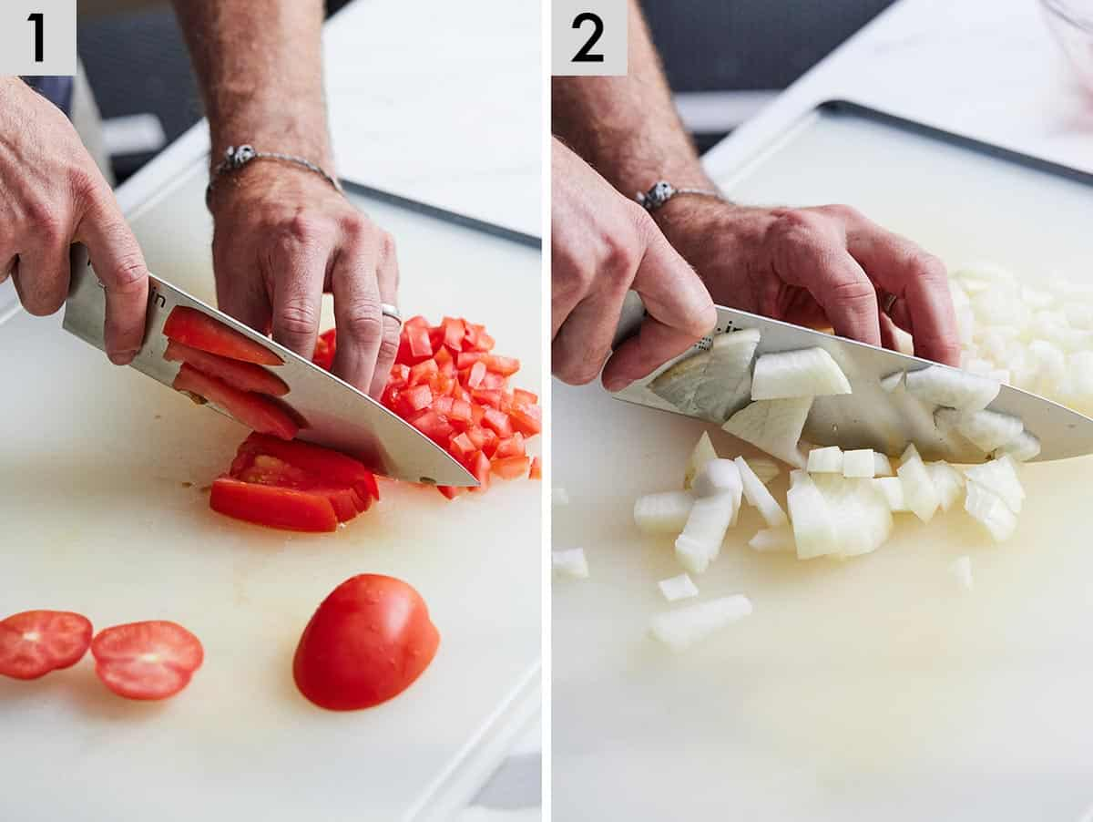 Set of two photos showing tomatoes and onions being diced.